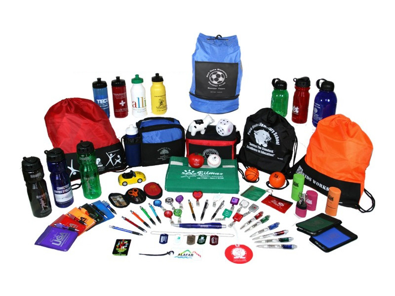 Large selection of different promotional items with different brand logos